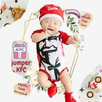 Jumper Bayi Kostum KFC Romper Bayi Lucu Set Topi Baju Bayi Karakter