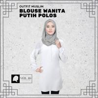 Fashion Baju Atasan Muslim Wanita Blouse Wanita Warna Putih Polos Baru