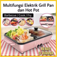 MINI ELECTRIC HOTPOT STEAMBOAT GRILL PAN BBQ MULTIFUNGSI 2 IN 1