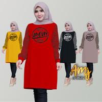 baju tunik wanita/atasan muslim wanita/tunik muslim - Merah, XL