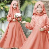 Gamis syari brokat pesta anak muslim perempuan baju cewek kid lebaran
