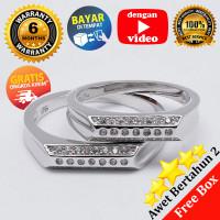 Ring Couple Korea, Silver Emas Putih ASLI, RC 045 (Garansi 6 bulan)