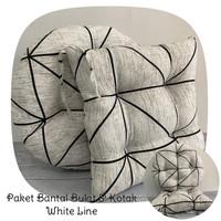 Paket Bantal Duduk Premium, Alas Duduk (Bulat & Kotak) - White Line