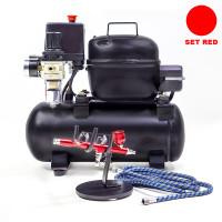 Set alat airbrush dan kompresor silent / Alat gambar - Merah