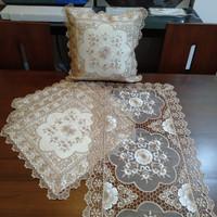 Set Sarung Bantal Sofa Mewah Bordir Import Krem Shabby