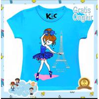 BajuKids&ATK Baju Kaos Anak Perempuan Lengan Pendek Ballet Paris Biru - 3