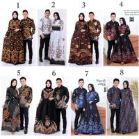 Baju Couple Batik Gamis Bambu Biru, Kuning, Ungu