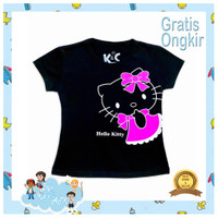BajuKids&ATK Baju Kaos Anak Perempuan Lengan Pendek Kitty Black Pink