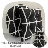 Paket Bantal Duduk Premium, Alas Duduk (Bulat & Kotak) - Black Line