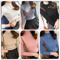 Turtle Neck Knit Wave Premium / Baju Atasan Rajut Wanita Import