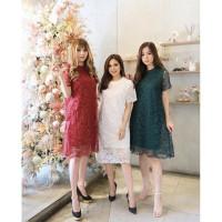 MAJESTIC LACE DRESS Christmas Edition merah hijau brukat pesta wanita