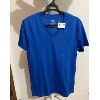 Giordano Tee Shirt V Neck Man Blue Size S New Sale