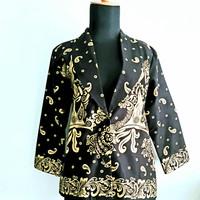 Blazer Batik Prada Wanita Gold/Silver