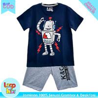 Logokids Baju Kaos Setelan Anak Laki-Laki Motif Robot Navy 1-10 Tahun