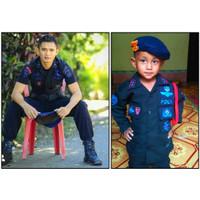 Baju polisi Brimob gegana - Baju PDL Brimob hitam - Brimob hitam anak