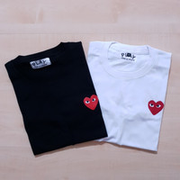 KAOS T SHIRT COMME DES GARCONS CDG PLAY RED HEART LOGO TEE WHITE