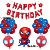 Set paket balon ulang tahun spiderman merah birthday dekorasi pesta