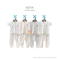 NOVA Setelan Baju Bayi Lengan Pendek + Celana Panjang Putih Newborn