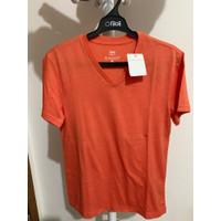 Giordano Tee Shirt V Neck Man Orange Yelllow Size S New Sale