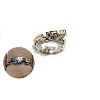 RC 010- Cincin Couple Perak Sterling 925 Emas Putih ASLI Korea-Garansi