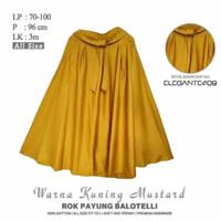 Rok Payung Wanita Panjang Bahan Balotelli Premi Tidak Menerawang - Mustard, All Size