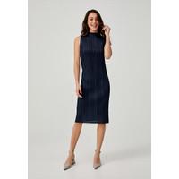 Cynthia Pleated High Neck Dress - Navy Blue