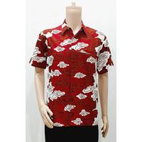 Kemeja Baju Seragam Pria Batik Murah Kantor 2900 Merah M L XL XXL XXXL