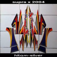 Striping sticker lis body supra x 100 old lama 2004 2005 hitam silver
