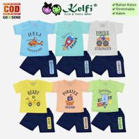 Setelan KELFI Baju Celana Bayi Anak Cowok Cewek - Transport