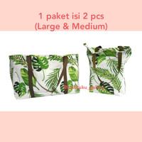 Paket Tas Kanvas Palm Monstera Baru (Large & Medium) - Tanpa Resleting