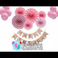 Paket Dekorasi Hiasan Balon Ulang tahun Pink / Happy Birthday Pink