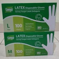 Sarung Tangan Sensi Latex Glove 100 pcs (kemasan baru)