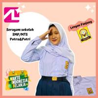 baju sekolah SMP/MTS kemeja oxford anak lengan panjang alghina seragam