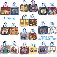 Tote bag import kanvas gajah owl / tas thailand best seller