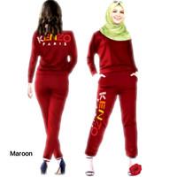 Setelan Training Kensi, Baju Atasan & Celana Muslim Wanita - Maroon, XL