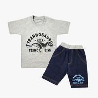 Wakakids Baju Setelan Anak Laki Motif Dinosaurus Celana Jeans 3468