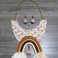 Kalung Batik Eanita Noesantara & Anting - Cokelat
