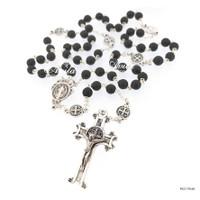 Rosario Batu Black Onyx St. Benedict 6mm Toko Katolik