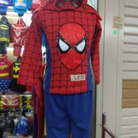 baju anak spiderman LED setelan kostum bisa nyala kids - 1 tahun