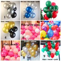 Paket set balon latex 30 buah biru hitam merah hijau putih
