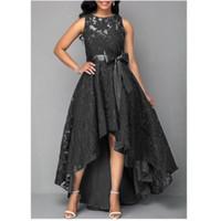 Women Fashion Long Lace,evening dress party gown maxi dress Black - Biru, S