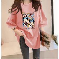 T Shirt Kaos Hitam Putih Pop Art Zig Zag Gombrong XXL - Merah Muda
