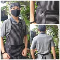 Paket Topi Chef+Apron Salur Fullsize Celemek Masak Loreng