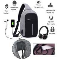 tas selempang kanvas pria/sling bag/tas slempang Cowok USB