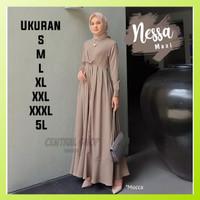 Baju Gamis Pesta Wanita Muslim Polos Jumbo Terbaru Nessa Maxi Murah