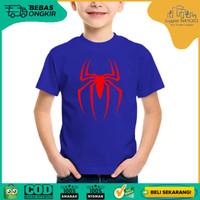 [KAOS SUPERHERO ANAK] baju distro SPIDERMAN LOGO - BLUE keren lucu