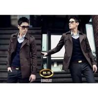 long coat pria casual style korea/jaket blazer panjang keren