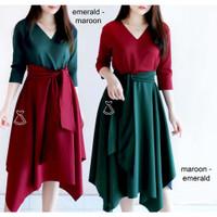 Dress Wanita Dress Pesta Wanita AMARA DRESS Bahan SCUBA Premium Adem
