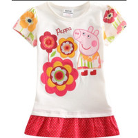 Kaos dress pepa pig baju kartun anak IMPORT bordir aplikasi