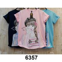 6359 Kaos wanita tumblr baju atasan remaja cewek biru pink murah